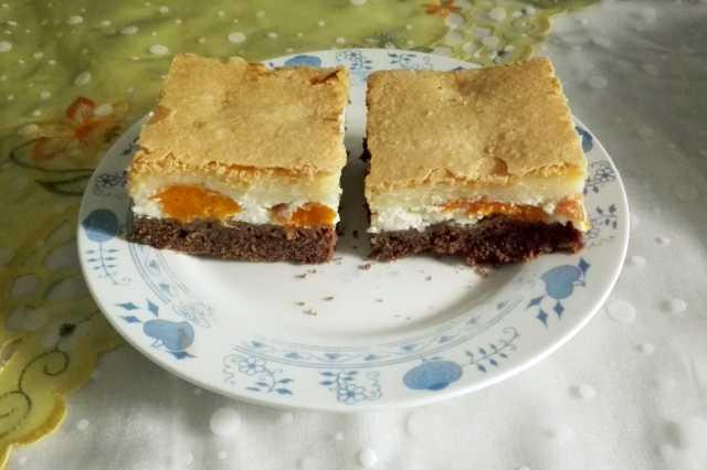 Tříbarevný meruňkový koláč s tvarohem